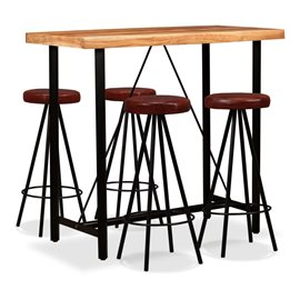 Set muebles de bar 5 pzas madera maciza sheesham cuero genuino