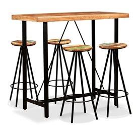 Set de muebles de bar 5 piezas madera de Sheesham y reciclada