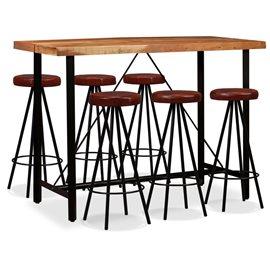 Set muebles de bar 7 pzas madera maciza sheesham cuero genuino