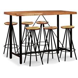 Set de muebles de bar 7 piezas madera de Sheesham y reciclada