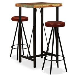 Set muebles de bar 3 pzas madera maciza reciclada cuero genuino