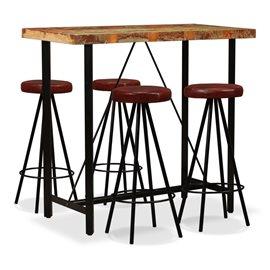 Set muebles de bar 5 pzas madera maciza reciclada cuero genuino