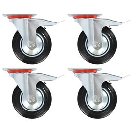 Ruedas giratorias con frenos dobles 8 unidades 160 mm