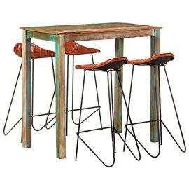 Muebles de bar 5 piezas madera maciza reciclada cuero auténtico