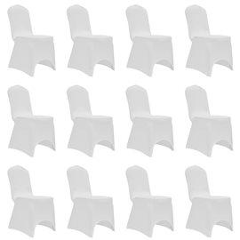 Funda de silla elástica 12 unidades blanca