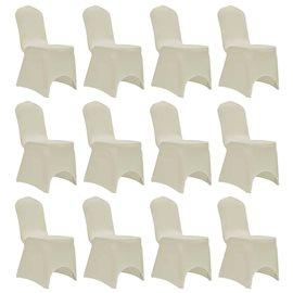 Funda de silla elástica 12 unidades crema