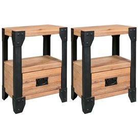 Mesitas de noche 2 uds madera maciza acacia y acero 40x30x54 cm