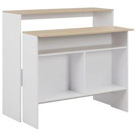 Mesa de bar con 2 encimeras blanca 130x40x120 cm