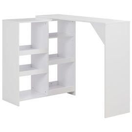 Mesa de bar con estantería móvil blanca 138x40x120 cm