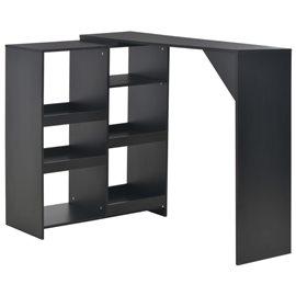 Mesa de bar con estantería móvil negro 138x40x120 cm