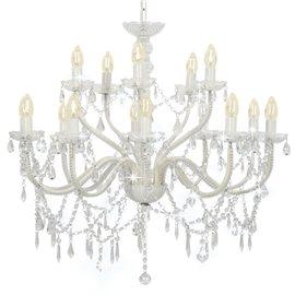 Lámpara de araña con 2 capas blanco 15 bombillas x E14