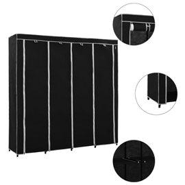Armario con 4 compartimentos negro 175x45x170 cm
