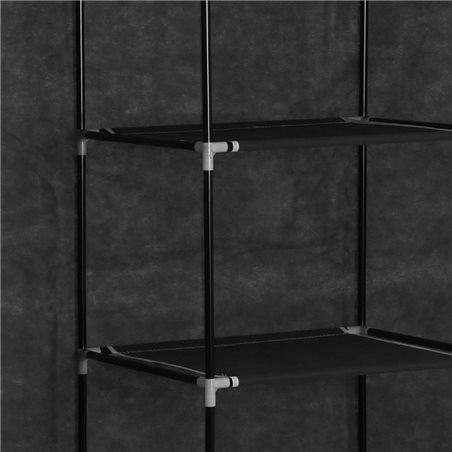 Armario con compartimentos y varillas tela negro 150x45x175 cm