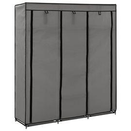 Armario con compartimentos y varillas tela gris 150x45x175 cm