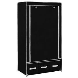Armario de tela negro 87x49x159 cm