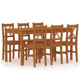 Conjunto de comedor 7 piezas madera de pino marrón miel