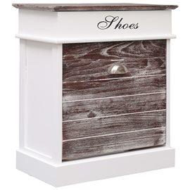 Mueble zapatero de madera de Paulownia marrón 50x28x58 cm
