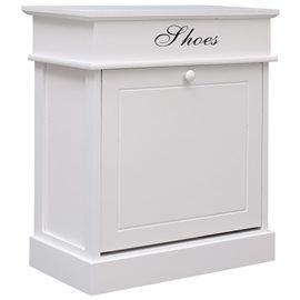 Mueble zapatero de madera de Paulownia blanco 50x28x58 cm