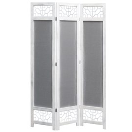 Biombo de 3 paneles tela gris 105x165 cm