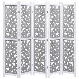 Biombo de 5 paneles de madera maciza gris 175x165 cm