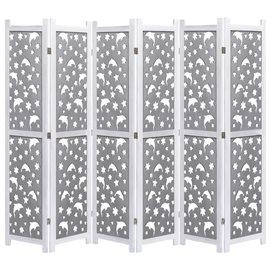 Biombo de 6 paneles de madera maciza gris 210x165 cm