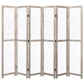 Biombo de 6 paneles de madera maciza blanco 210x165 cm