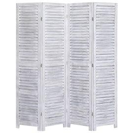 Biombo divisor de 4 paneles madera gris 140x165 cm