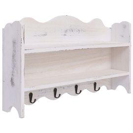 Perchero de pared de madera blanco 50x10x30 cm