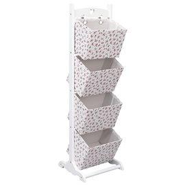 Cestas de almacenaje de 4 piezas madera flores 35x35x125 cm