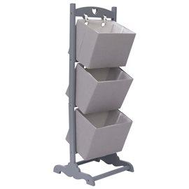 Cesta de almacenaje de 3 piezas madera gris oscuro 35x35x102 cm