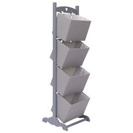 Cesta de almacenaje de 4 piezas madera gris oscuro 35x35x125 cm