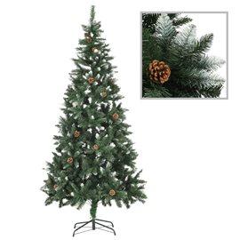 Árbol de Navidad artificial con piñas y brillo blanco 210 cm