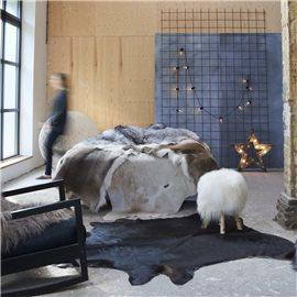 Alfombra de piel de vaca auténtica negro 150x170 cm