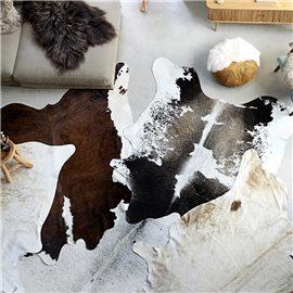 Alfombra de piel de vaca real negro y blanco 150x170 cm