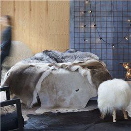 Alfombra de piel de vaca auténtica marrón y blanco 150x170 cm