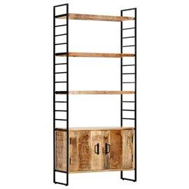 Estantería de 4 niveles madera de mango rugosa 80x30x180 cm