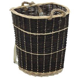 Cesto para leña con correas transporte sauce natural 57x51x69cm