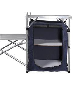 Cocina de aluminio plegable para camping, con estantes y rejilla