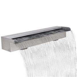 Fuente rectangular de acero inoxidable para piscina, 60 cm