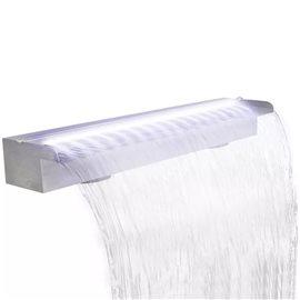 Fuente cascada rectangular LED piscina acero inoxidable 90 cm