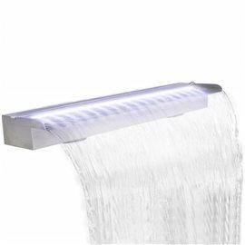 Fuente cascada rectangular LED piscina acero inoxidable 150 cm