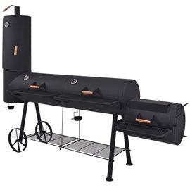 Barbacoa ahumador fuerte de carbón estante inferior negro XXXL