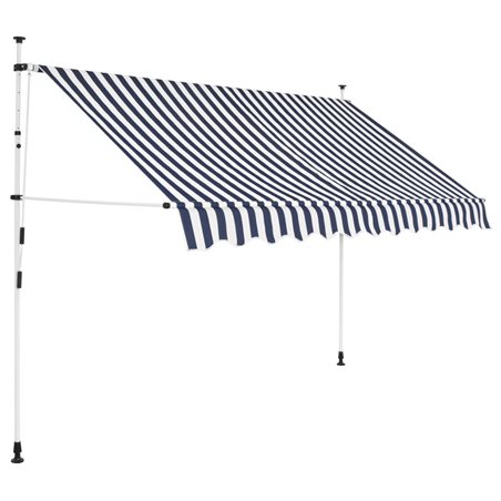 Toldo manual retráctil 300 cm azul y blanco a rayas