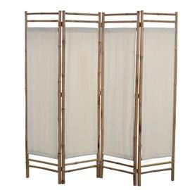Biombo plegable con 4 paneles 160 cm bambú lona