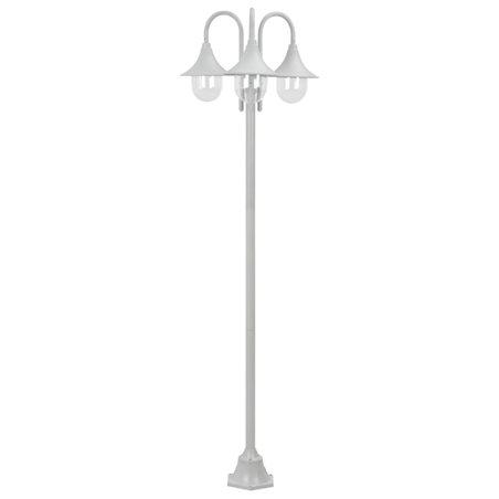 Farolas de jardín con 3 luces aluminio blanca E27 220 cm
