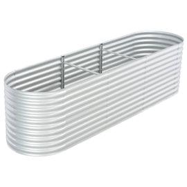 Jardinera de acero galvanizado 320x80x81 cm plateado