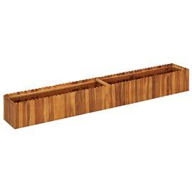 Jardinera de madera maciza de acacia 200x30x25 cm
