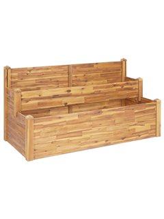 Jardinera de 2 niveles madera maciza de acacia 160x75x84 cm