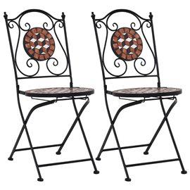 Sillas de mosaico para cafetería 2 unidades cerámica marrón