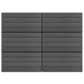 Baldosas 6 unidades WPC gris 1m² 60x30 cm